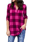 ieftine Bluză-Pentru femei În V Cămașă Bumbac Dungi