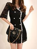 cheap Women's Coats & Trench Coats-Women's Elegant Shift Dress - Solid Colored Black & White, Lace