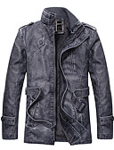 cheap Men's Tees & Tank Tops-Men's Trench Coat - Contemporary Stand / Long Sleeve