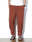 tanie Męskie spodnie i szorty-Męskie Podstawowy Puszysta Bawełna / Len Luźna Typu Chino Spodnie - Solidne kolory Wino / Wiosna / Jesień / Plaża