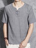 お買い得  メンズTシャツ&タンクトップ-男性用 Tシャツ Vネック ソリッド リネン / 半袖