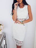 cheap Women's Dresses-Women's Going out Boho Sheath Dress - Solid Colored Cut Out Spring White M L XL / Sexy