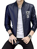 cheap Sport Watches-Men's Leather Jacket - Solid Colored / Letter, Print