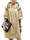 cheap Women's Trench Coat-Women's Plus Size Trench Coat - Solid Colored