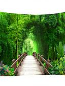 abordables Trajes de Dos Piezas para Mujer-Paisaje / Bambú Decoración de la pared 100% Poliéster Clásico Arte de la pared, Tapices de pared Decoración