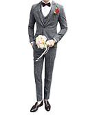 cheap Men's Downs & Parkas-Men's Party Business Casual Slim Suits-Houndstooth Notch Lapel / Long Sleeve