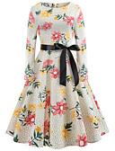 tanie Sukienki-Damskie Vintage / Elegancja Bawełna Szczupła Swing Sukienka - Groszki / Kwiaty, Nadruk Do kolan / Wiosna / Lato