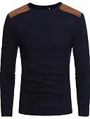 abordables Camisetas y Tops de Hombre-Hombre Algodón / Lino Camiseta, Escote Redondo Un Color / Manga Larga