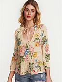 preiswerte Bauchtanzkleidung-Damen Geometrisch - Street Schick Hemd, V-Ausschnitt Grundlegend Puff Ärmel / Mit Schleife / Blumen