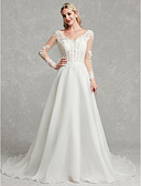 cheap Wedding Dresses-A-Line V Neck Chapel Train Lace / Tulle Made-To-Measure Wedding Dresses with Lace by LAN TING BRIDE®