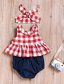 Χαμηλού Κόστους Φορέματα για κορίτσια-Μωρό Κοριτσίστικα Ενεργό / Βασικό Καθημερινά / Αθλητικά Houndstooth Αμάνικο Κανονικό Βαμβάκι / Πολυεστέρας Σετ Ρούχων Ρουμπίνι / Νήπιο