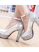 ieftine Rochii de Seară-Pentru femei Pantofi PU Vară Confortabili / Balerini Basic Tocuri Toc Stilat Auriu / Argintiu
