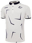 tanie Męskie koszulki polo-Polo Męskie Podstawowy, Nadruk Bawełna Kołnierzyk koszuli Geometric Shape / Krótki rękaw