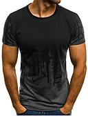 お買い得  メンズTシャツ&タンクトップ-男性用 スポーツ - プリント プラスサイズ Tシャツ 活発的 / ベーシック ラウンドネック スリム 幾何学模様 コットン ルビーレッド XL / 半袖
