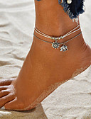 cheap Women's Blouses-Women's Ankle Bracelet feet jewelry Layered Stacking Stackable Twisted Elephant Sun Cheap Ladies Vintage Bohemian Casual / Sporty Fashion Anklet Jewelry White For Street Going out