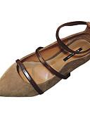 preiswerte Brautjungfernkleider-Damen Schuhe PU Sommer Knöchelriemen Flache Schuhe Flacher Absatz Spitze Zehe Schwarz / Braun