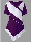billige Bluse-V-hals Dame - Farveblok I-byen-tøj T-shirt