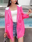 cheap Maxi Dresses-Women's Daily / Beach Regular Coat, Solid Colored Hooded Long Sleeve Polyester Red / Yellow / Fuchsia M / L / XL