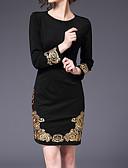 זול שמלות במידות גדולות-בגדי ריקוד נשים מתוחכם מידות גדולות רזה מכנסיים - אחיד שחור, רקום שחור / ליציאה