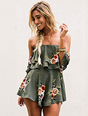 cheap Women's Jumpsuits & Rompers-Women's Going out Boat Neck Green Wide Leg Romper, Floral L XL XXL Long Sleeve