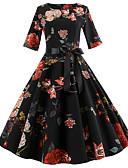 halpa Vintage-kuningatar-Naisten Pyhäpäivä Bile Vintage 1950-luku Puuvilla A-linja Mekko - Kukka, Rusetti Painettu Polvipituinen