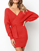 cheap Sweater Dresses-Women's Daily / Going out Basic / Elegant Mini Sweater Dress - Solid Colored Backless High Waist Deep V Fall Red Pink Gray M L XL / Sexy