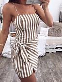 baratos Macacões & Macaquinhos-Mulheres Para Noite Boho Moda de Rua Delgado Bainha Vestido - Multi Camadas Enrole, Listrado Com Alças Mini / Sexy