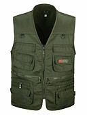 cheap Men's Jackets & Coats-Men's Daily / Sports Basic / Military Fall & Winter Plus Size Regular Vest, Solid Colored V Neck Sleeveless Cotton / Acrylic / Polyester Red / Army Green / Khaki XL / XXL / XXXL