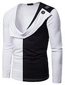 preiswerte Herren T-Shirts & Tank Tops-Herrn Einfarbig - Grundlegend T-shirt Patchwork Schwarz & Weiß Weiß L / Langarm
