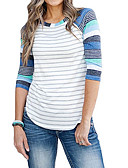 cheap Women's T-shirts-women's t-shirt - striped round neck