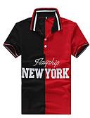 tanie Męskie koszulki polo-Polo Męskie Podstawowy, Nadruk Bawełna Kołnierzyk koszuli Szczupła - Geometric Shape / Kolorowy blok / Krótki rękaw