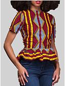 povoljno Majica s rukavima-Majica s rukavima Žene Dnevno Prugasti uzorak / Geometrijski oblici / Color block Nabori / Kolaž / Print