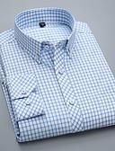 billige Herreskjorter-Button down-krave Tynd Herre - Ensfarvet Bomuld Forretning / Basale Arbejde Plusstørrelser Skjorte / Langærmet