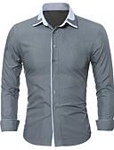 זול חולצות לגברים-אחיד / קולור בלוק עסקים / בסיסי חולצה - בגדי ריקוד גברים טלאים