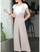 cheap Women's Pants-Women's Loose Wide Leg Pants - Check High Waist Gray