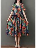 baratos Vestidos Plus Size-Mulheres Básico Calças - Floral Azul / Manga Tulipa