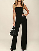 cheap Women's Jumpsuits & Rompers-Women's Daily / Going out Strap Black Wide Leg Jumpsuit, Solid Colored L XL XXL Sleeveless
