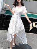 رخيصةأون فساتين للنساء-نسائي أساسي بنطلون خصر عالي أبيض / V رقبة