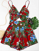 cheap Women's Jumpsuits & Rompers-women's going out romper - floral wide leg strap