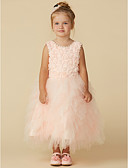cheap Flower Girl Dresses-A-Line Tea Length Flower Girl Dress - Tulle Sleeveless Jewel Neck with Lace by LAN TING Express
