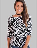 baratos Blusas Femininas-Mulheres Camisa Social Estampado, Geométrica