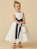 זול שמלות לילדות פרחים-גזרת A באורך הקרסול שמלה לנערת הפרחים - טפטה ללא שרוולים עם תכשיטים עם סרט / קפלים על ידי LAN TING BRIDE®