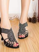 baratos Vestidos Femininos-Mulheres Sapatos de Dança Latina Cetim Salto Salto Grosso Sapatos de Dança Preto