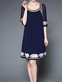povoljno Ženske haljine-Žene Osnovni Shift Haljina Jednobojni / Cvjetni print Iznad koljena / Ljeto