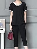 tanie T-shirt-Damskie Puszysta Bawełna Aktywny Bufka Zestaw - Pofałdowany, Solidne kolory / Geometric Shape Nogawka