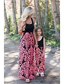 povoljno Obiteljski komplet odjeće-Mama i mene Osnovni / slatko Hlače - Cvjetni print / Color block Kolaž Plava / Maxi / Duga / Izlasci / Dijete koje je tek prohodalo