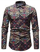 baratos Camisas Masculinas-Homens Tamanhos Grandes Camisa Social - Bandagem Negócio / Vintage / Básico Estampado, Estampa Colorida Algodão Delgado / Manga Longa