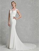 cheap Wedding Dresses-Mermaid / Trumpet Illusion Neck Court Train Chiffon / Lace Made-To-Measure Wedding Dresses with Appliques by LAN TING BRIDE® / Illusion Sleeve / Beautiful Back