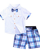 זול סטים של ביגוד לבנים-סט של בגדים כותנה שרוולים קצרים חור טלאים טיגריס בית הספר וינטאג' / פעיל בנים ילדים