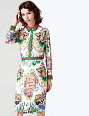 זול חליפות שני חלקים לנשים-חצאית אחיד / פרחוני - חולצה בסיסי / מתוחכם בגדי ריקוד נשים